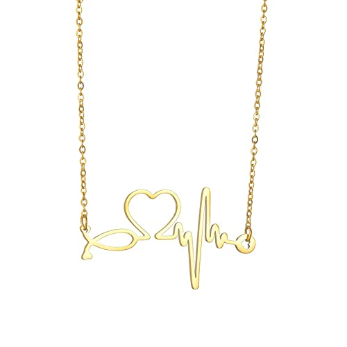 Personalidad Moda Simple Ecg Heartbeat Titanio Acero Señora Collar Clavícula Cadena Amor Corazón Colgante Joyería Accesorios