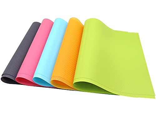 Panngu 10er Antibakterielle Kühlschrankmatten Matten entziehen Feuchtigkeit, für die Einlegeböden des Kühlschranks, Anti-Feuchtigkeit, DIY zuschneidbar Kühlschrankeinlagen, Schubladenmatte - 5 Farben