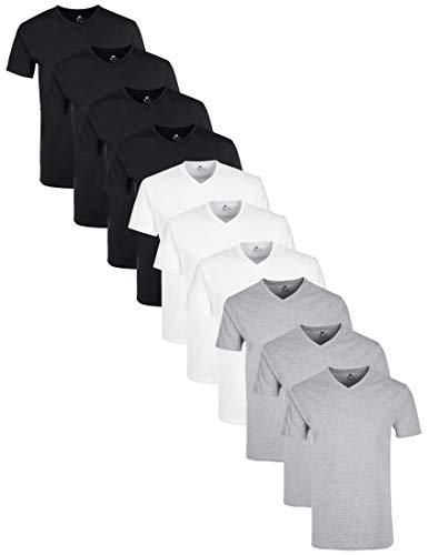 Lower East mit mit V-Ausschnitt T-Shirt, Mehrfarbig Schwarz/Weiß/Grau Melange), Medium (Herstellergröße: M), 10er-Pack