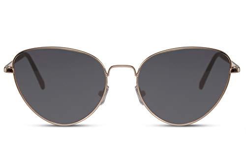 Cheapass Sonnenbrille Katzenauge Runde Form Gold Metall Dunkle Gläser 100% UV400 Schutz Frauen