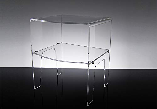 Slato Comodino da Notte dal Design Moderno a Due Ripiani in Cristallo metacrilato Trasparente Emerald