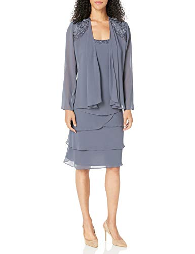 S.L. Fashions womens Embellished Tiered Jacket (Petite and Regular) Special Occasion Dress, Steel, 18 US