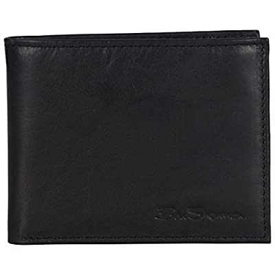 Ben Sherman Men's Leather Five Pocket Bifold Wallet with Id Window (RFID), Black