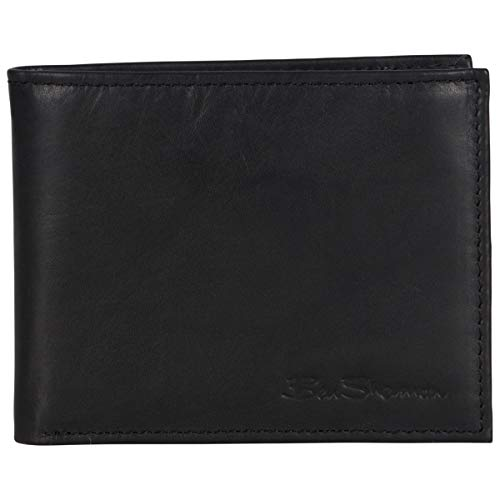 Ben Sherman Men's Manchester Bifold Full-Grain Leather RFID Minimalist Gift Box, Black Marble Passcase, Slim Wallet