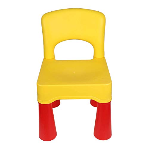 """burgkidz Kinderstuhl Plastik, Kindermöbel Stuhl in Kräftigem aus Unbedenklichem Kunststoff, 9,3"""" Höhe Sitzgelegenheiten fürs Kinderzimmer und Garten, Gelb"""