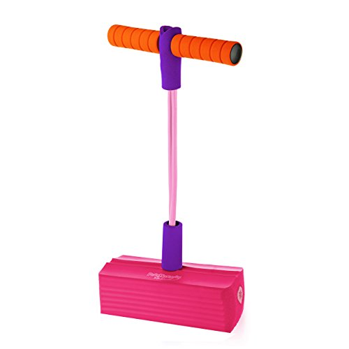 PlayHurray The Original Foam Pogo Jumper for Kids 100% SafePogo Stick, Strong Bungee Toy for Toddlers, Fun Foam Hopper for Children Boys/Girls, Squeaks with Each Hop! Supports up to 250lbs. (Pink)