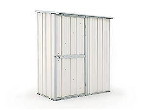 Notek Box in Acciaio Zincato Casetta da Giardino in Lamiera 1.55 x 1.00 m x h1.92 m - 50 kg – 1,55 Metri Quadri (Bianco)