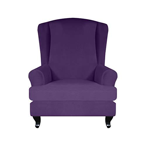 Tongliang 2 Stücke Sofabezug Ohrensesselbezug Sessel-Überwürfe Langlebig Weich Ohrensessel Überzug Bezug Sesselhusse Elastisch Schonbezug mit Kissenbezug Lila