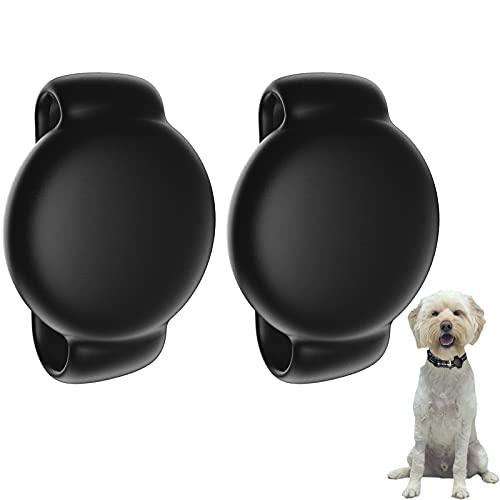 SUPMEGA Hülle für AirTag H&ehalsband, Flexible Silikonhülle mit verstellbarem Band Passend für H&, Schutzhülle gegen Kratzer kompatibel mit AirTag 2021- Schwarz, 2er-Pack