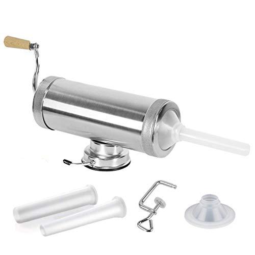 SHEANAON Máquina de Hacer Salchichas Embutidora de Salchichas Horizontal Manual de Aluminio con Base de Succión y 3 Embudos de Relleno, Embutidora de Salchichas con Capacidad de 5 lbs