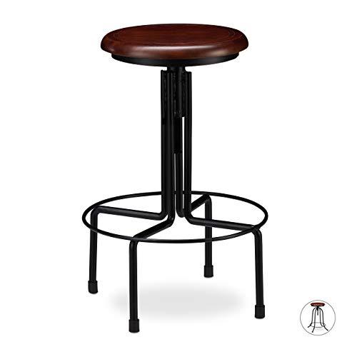 Relaxdays barkruk Industrial, barkruk draaibaar, ronde vintage kruk, in hoogte verstelbaar tot 65 cm, zwart/bruin
