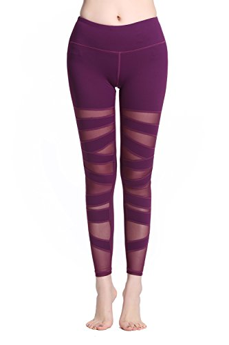 Lotus Instyle Damen Sports Leggings Yoga Laufen Hose mit Netze (S, Wine Red)