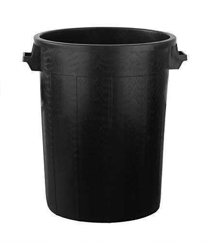 BigDean Universaltonne 100 Liter ohne Deckel Allzweck Tonne Schwarz mit 2 Tragegriffen