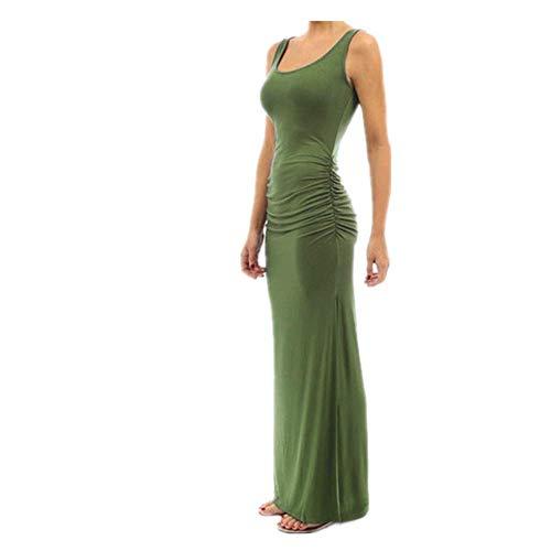 N\P Verano de las Mujeres Vestido de Color Sólido O Cuello Plisado Slim Bolsa de Cadera sin Mangas con Extremos Divididos Vestido Elegante