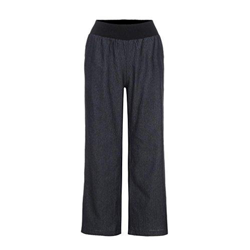 Donna Pantaloni Larghi Estivi di Vita Alta con Cintura, UOMOGO Pantaloni Eleganti a Pantaloni Donna Primavera Estate (Asia L, Nero)