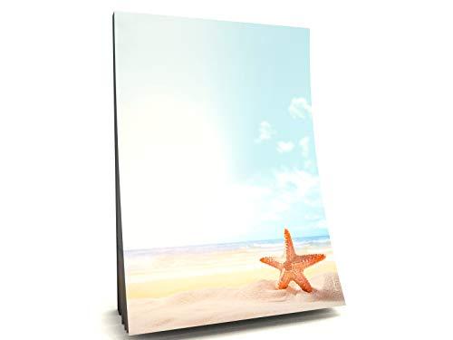 Sommer Strand Meer Urlaub Ferien Sonne Strand Motivpapier Block Seestern, 50 Blatt DIN A5, 90g/qm
