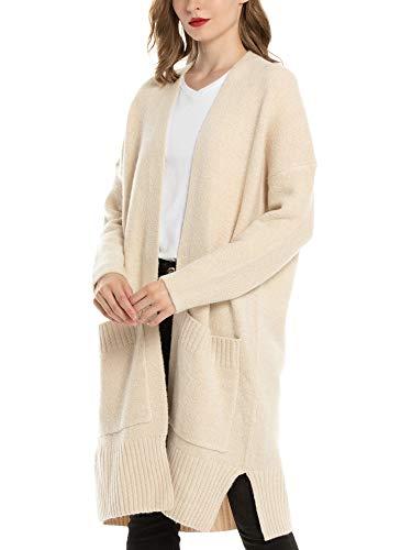 Woolen Bloom Strickjacke Damen Lang Cardigan Damen Oversize Dicke Strickjacke Lange Strick Cardigan mit Taschen Feinstrickjacke Winter Herbst