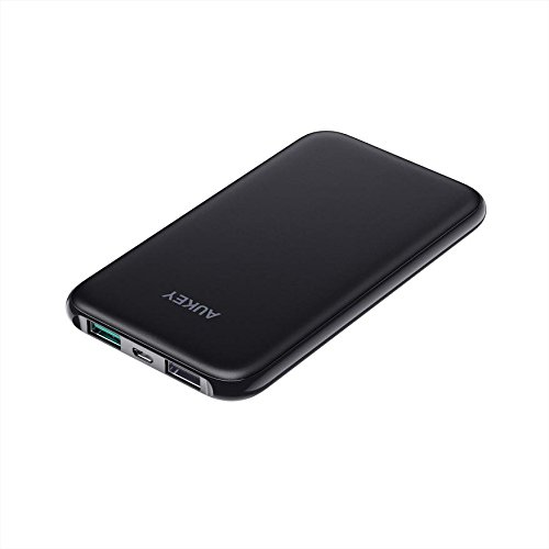 AUKEY Mini Power Bank 5000mAh, Caricabatterie Portatile Ultra Slim con 2 Porte, Batteria Esterna per iPhone X/8/Plus, Samsung Galaxy Note 8/S8, iPad ecc.