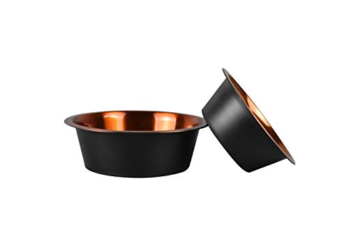 HIGHPOINT Luxury Black And Copper Color Stainless Steel Dog Bowl Set Of 2, Pet Bowl, Cat Bowl, Feeding and Water Bowl With Non-Slip Silicone Rubber Bottom