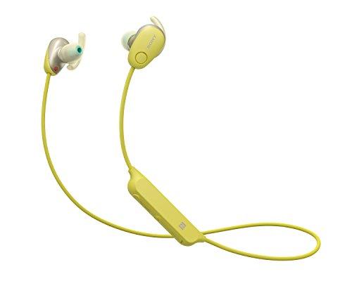 Sony WISP600NY.CE7 - Auriculares deportivos inalámbricos (modo sonido ambiente, cancelación de ruido, Bluetooth y NFC), color amarillo