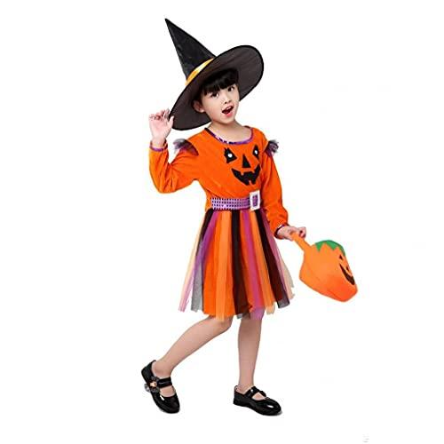 Hainice Disfraz de bruja para nias, clsico, disfraz de Halloween, con gorro, bolso para disfraces de Halloween, cors de cuento de hadas, 150 cm, color naranja