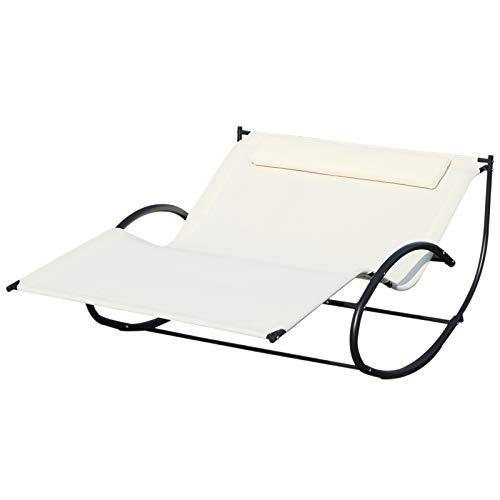 Outsunny Lettino Prendisole 2 Posti, Sdraio da Giardino a Dondolo in Metallo e Textilene, 140x200x36-88cm, Bianco Crema