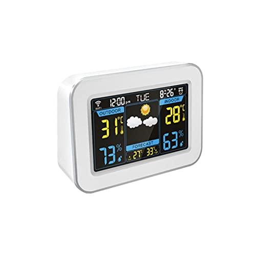 ZHZHUANG Reloj Despertador Desverador Inalámbrico Inteligente con Higrómetro de Temperatura Interior Y Exterior Previsión Meteorológico Pantalla de Pantalla Reloj de Despertador Reloj Despertador,Bla