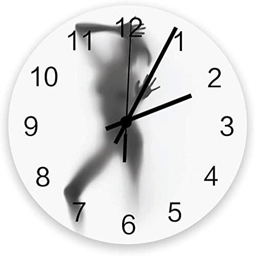 NBHBVGFC Reloj de pared redondo de madera, silencioso, sin garrapatas, 12 pulgadas, el nombre de tu familia está aquí, relojes de pared grandes para casa, oficina, escuela, funciona con pilas