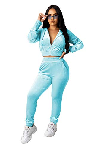 PINSV 2 Piece Outfits Velour Tracksuit for Women Zip Up Hoodie Velvet Jogging Sweatsuit Workout Sets Solid Light Blue XL