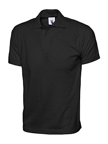 100% Coton Jersey Uni Polo Manches Courtes Sport Loisir Vêtements De Travail - Cotton, Noir, 100% coton 100% anneau, XXL