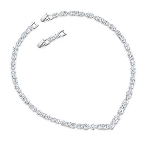 Swarovski Women's Tennis Deluxe Necklace, Brilliant White Crystal Stones with Rhodium Plated Metal, Swarovski Tennis Deluxe Collection