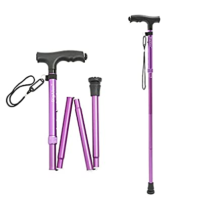 BigAlex Folding Cane,Adjustable Collapsible Cane with Led Light,Foldable Walking Cane Lightweight,Portable Hand Walking Stick, Comfortable T Handles (Purple) Short from BigAlex