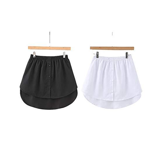 Shirt Extender Mini Skirt Women Girls Short High Waist Skirt Adjustable Layering Fake Top Lower Sweep Set Skirt Half-Length Splitting A Version (weiß+schwarz, S)