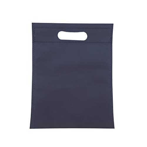 BOLSAS 100 Pieza Tela no Tejido,con asa Troquelada.Bolsas de Compra Reutilizable. (Azul...