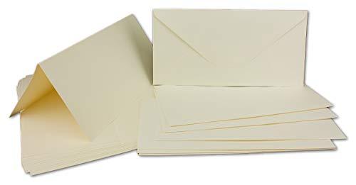 50 Klapp-Karten Set DIN Lang Creme-Weiß - 21,0 x 21,0 cm - 240 g/m² - mit Brief-Umschlägen DIN Lang - 11,1 x 21,1 cm - 120 g/m² - Runde Klappe Nassklebung