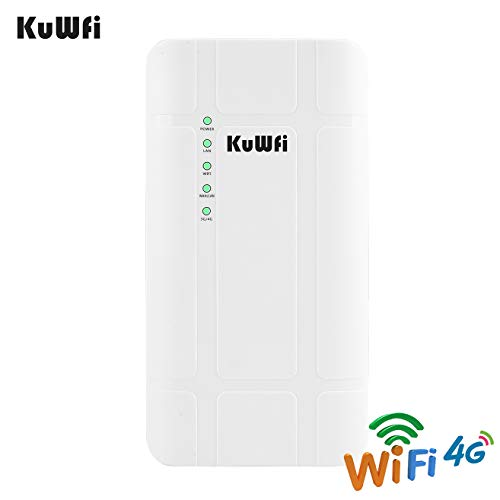 KuWFi 300Mbps Outdoor 4G LTE CPE WiFi Router with Sim Card Slot CAT4 SIM Routers with POE Adapter Work with IPcamera or Outside WiFi Coverage (US Version B2/B4/B5/B12/B13/B14/B66/B71)