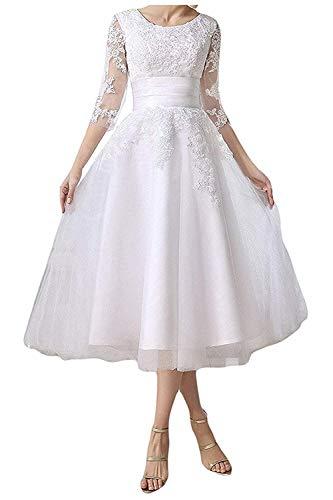 YASIOU Hochzeitskleid Damen Schlicht A Linie Kurz Spitze Tüll Standesamt Vintage Brautkleider Tee-lang Hochzeitskleider