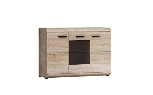 Furniture24 Kommode LINK 120, Wohnzimmerschrank, Sideboard mit 3 Türen (Ohne Beleuchtung)