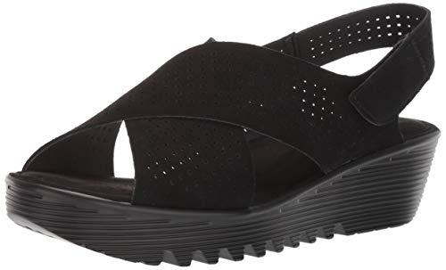 Skechers Women's Petite Parallel-PLOT-Square Perf Peep Toe Slingback Wedge Sandal, Black, 11 M US