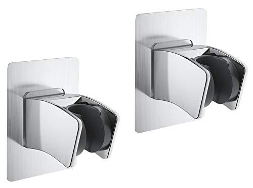 Elinala Duschhalterung, Duschkopfhalterung, 2PCS Verstellbare, Nicht Bohrende, Selbstklebende Wand-Duschhalterung für Die Wand