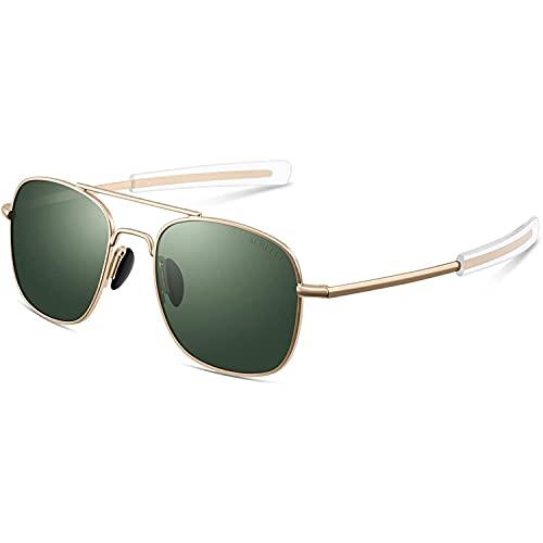 Pilot Aviator Sunglasses for Men Retro Military Navigator Army Polarized Classic Gold Glasses
