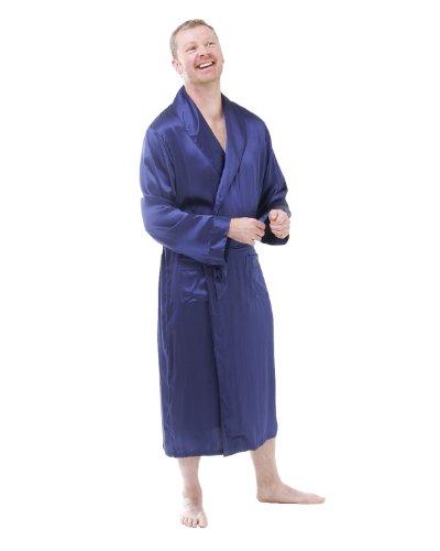 The House of Silk Soie Longue Robe de Chambre - Taille: L - Couleur: Bleu