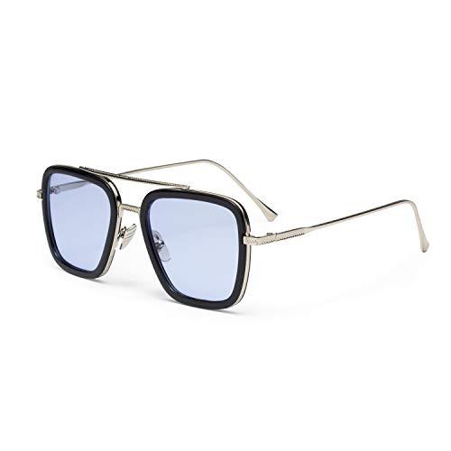 LianSan Tony Stark Edith Sonnenbrille Retro Square Eyewear Metallrahmen für Männer Frauen Sonnenbrille Downey Iron Man