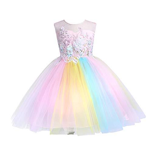 Zylione Mädchen Prinzessin Kleid Kinder Baby Regenbogen Rock Kleid Hochzeitskleid