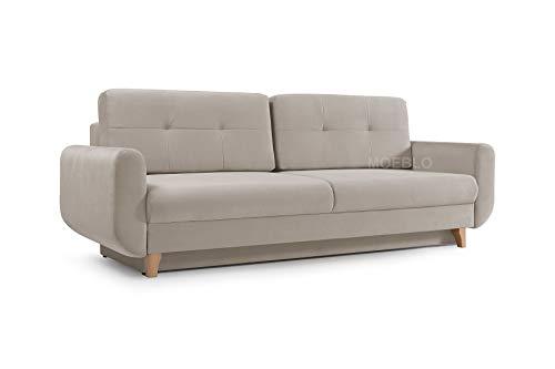 mb-moebel Modernes Sofa Schlafsofa Kippsofa mit Schlaffunktion Klappsofa Bettfunktion mit Bettkasten Couchgarnitur Couch Sofagarnitur 3er Saphir (Beige)