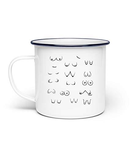 Galeriemode Titten-Muster Brüste Fun Geschenk - Emaille Tasse -Einheitsgröße-Weiß