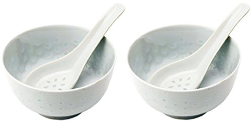bick.shop Reisschüssel + Löffel Porzellan Schale Chinaporzellan Reiskorn Reisschale Asia (2X)
