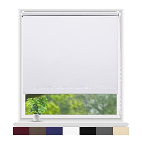 Eurohome Thermo Rollo Verdunkelungsrollo 70X160cm (Stoffbreite 66 cm) Weiß Klemmfix ohne Bohren für Fenster und Tür