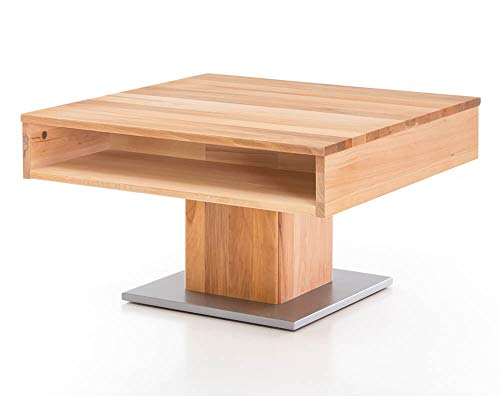 matches21 Sven Coffee Table Solid Beech Heartwood with Stainless Steel Base 75 x 75 x 44 cm with Drawer