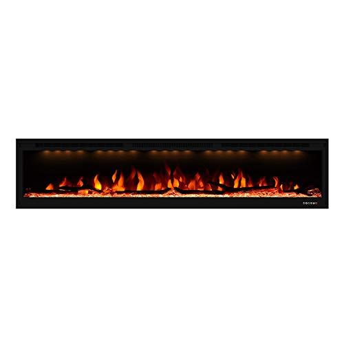 Valuxhome Electric Fireplace, 74 Inches Fireplace, Recessed and Wall Mounted Fireplaces for Living Room with Remote, Overheating Protection, Logset and Crystal, Touch Screen, 1500W/750W, Black